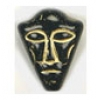 Glass Bead Face 25/20mm Black/Gold Strung